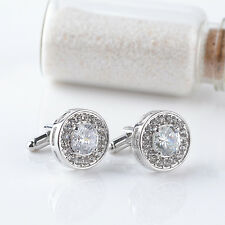 White Crystal Womens Mens Stainless Steel Cuff Links Wedding Party Cufflinks A39