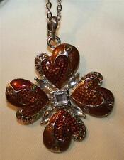 Lovely Caramel & Ambertne Enamel Clover Petal Flower Silvertone Pendant Necklace