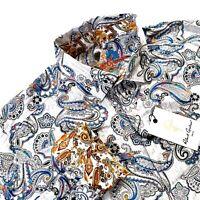 Robert Graham Paisley Atlantic White Long Sleeve Sport Shirt Mens $198