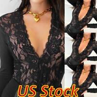 US Women's Sexy Slim Fit V Neck Lace Top Casual Long Sleeve T-Shirt Tunic Blouse