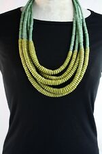 "15"" Multi Strand Layered Necklace Tribal Natural Wood Beads Earthy Green Shades"