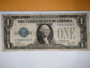 1928 $1 Silver Cert.! FUNNY BACK ! OLD US CURRENCY! RARE 761