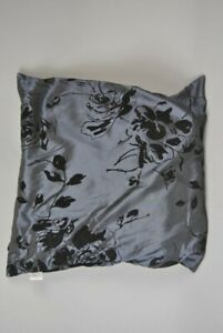 Cushion Grey satin with Black velour floral pattern filled Scatter Cushion