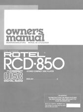 Rotel RCD-850 CD Player Owners Manual