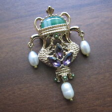 Gold Italian Byzantine Medieval Royal Flagon Brooch Pin Pearl Amethyst Crystals