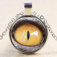 Vintage Python eye Cabochon Tibetan Silver Glass Chain Pendant Necklace