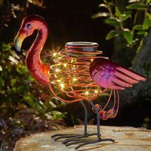 Solar Powered Flamingo Spiral Light Outdoor Garden Decor Exotic Bird Statue LED