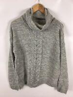 JANINA Damen Pullover, Größe 36, grau, Rollkragen, over size, warm