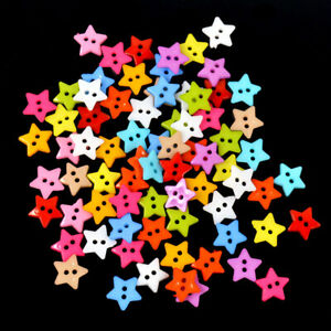 Buttons  Sewing  DIY  2 Holes for   Mixed  100Pcs Craft  Star Color  Resin