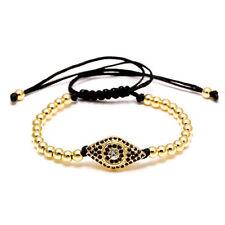Gold Perlen Zirkonia Shamballa Nazar Evil Eye Polyester Damen Herren Armband