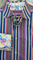 Robert Graham Striped Flowers Button Up L Purple Blue Cotton Flip Cuffs Stripe
