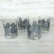 Vintage Barware Double Old Fashioned Rocks Glasses Grey Silver Trees - Set of 4