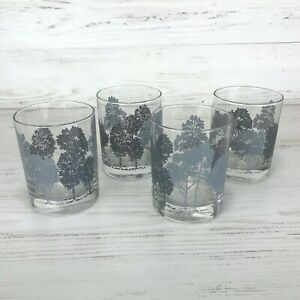 Vintage Double Old Fashioned Rocks Glasses Grey Silver Trees - Set of 4