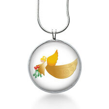 Christmas Angel necklace with holly- gifts for women