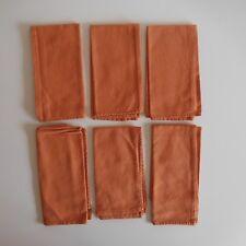 6 serviettes carrés 42 X 42 CM 100% coton orange marron Art Déco Design XX N3356