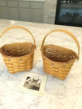 New ListingLongaberger Basket ~ 2001 (2) Sweetheart + (2) Key To My Heart Tie-On Combo Set