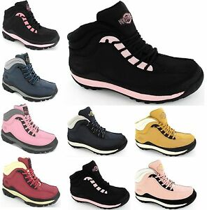 WOMENS STEEL TOE CAP LADIES SAFETY WORK HIKING LEATHER TRAINERS BOOTS SIZE 3-8