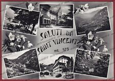 AOSTA SAINT VINCENT 106 SALUTI da... VEDUTINE Cartolina FOTOGRAFICA viagg. 1954