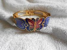 Vintage Cloisonne Butterfly Clamper Bracelet Gold Tone Cobalt Blue Orange