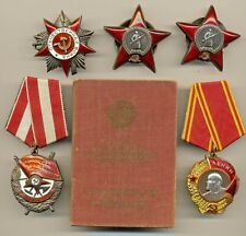 Soviet Order Medal Lenin Red Banner Two Red Star GPW  with document  (#1949)