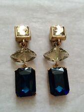 Oscar de la Renta - Blue  Crystals Clip-On Earrings