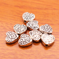 #7017#  50 Pieces 9mm Heart Beads Spacer Charm Tibetan Silver DIY Jewelry Bead