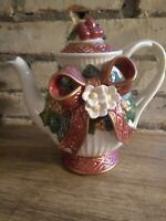 Vintage Fitz and Floyd Classic Christmas Rose Ceramic Teapot Retired