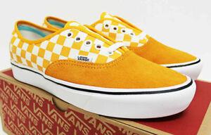NIB VANS Men's Comfycush Authentic Checker Orange Suede Sz 9 Sneakers Shoes