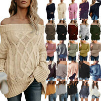 Women Off Shoulder Sweater Long Sleeve Loose Jumper Solid Pullover Casual Top US