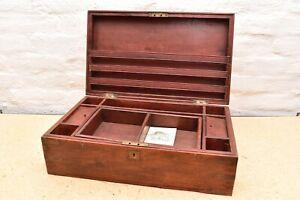 Antique Ship Captain Log Book Wooden Folding Travel Writing Desk Document Box