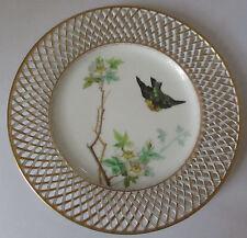 ANTIQUE FISCHER & MIEG PIRKENHAMMER BOHEMIA RETICULATED PLATE W/BIRDS & FLOWERS