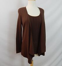ETCETERA INTERLUDE OPEN-FRONT CHOCOLATE BROWN CARDIGAN SWEATER size XS NEW $195