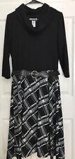 Robbie Bee Womans Dress Vintage 1970s Modest Cowl Neck Plaid Black White Size L