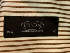ETON Contemporary Fit Dress Shirt 40 15.75 Medium White Brown Striped Lng Sleeve
