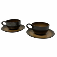 Heath Ceramics California Pottery Set of 2 cups & Saucers Brownstone