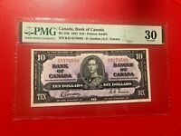 CANADA, BANK OF CANADA 1937 $10 D.GORDON G.G.TOWERS PMG 30 VERY FINE