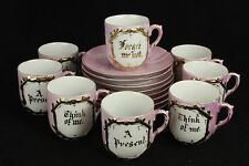 Vintage Pink/Gold Trim German Remembrance Mugs and Plates, set of 8