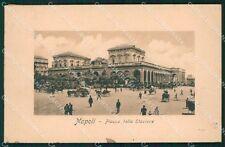 Napoli Città Stazione MACCHIA cartolina XB5256