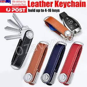 Men Leather Smart Key Holder Organizer Clip Compact Folder Keychain Brown Black