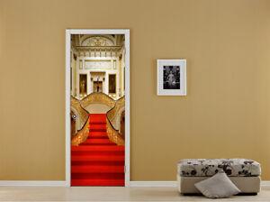 3D Red Carpet Self-Adhesive  Bedroom Door Murals Sticker Wall Decal Home Decor