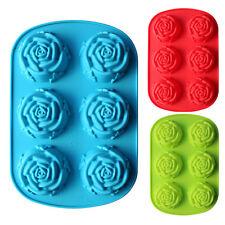 Rose Flower Shape Chiffon Cake Chocolate Mooncake Soap Silicone Mold6 Cavity