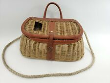 Vintage Wicker Creel Fly Fishing Basket with Leather Trim
