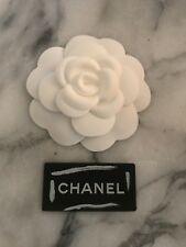 CHANEL White Fabric Camellia Flower NEW! Free Chanel Sticker