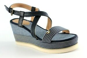 Tom Tailor Navy Ankle Strap Wedge Heel Sandals UK Size 8 Brand New In Box