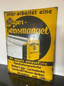 Berger Heissmangel Emailschild - 65 x 50 cm - D 1920 Berg.Gladbach Emailleschild
