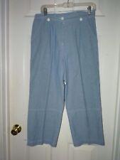 Woman sz 8 SAG HARBOR cotton blue capri-comfy pants beach cruise SUMMER SALE gu