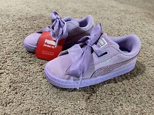 Puma Suede Basket Heart Ribbon Lace Up Sneakers Lavender Sparkle NWOT Size 10C