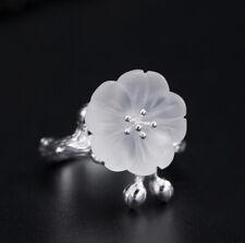 F04 Ring Silber 925 Zweig mit Blüte aus weißem Kristall Stil B größenverstellbar