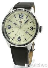 New Tommy Hilfiger Men Military Dial Brown Leather Date Watch 46mm 1791102 $120