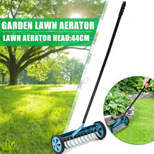 Garden Rolling Lawn Aerator Grass Roller Handle Dethatcher Spike Farm Yard Tool